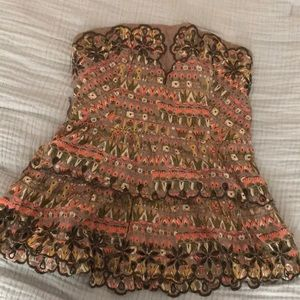 Strapless patterned Anthropologie blouse